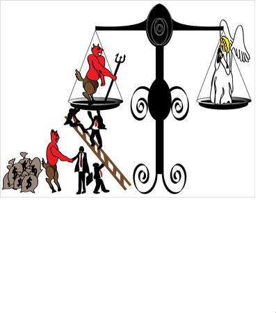 bestechung: besch�digte Justiz Illustration