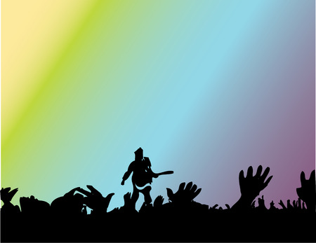 singer and audience on rock concerte Illustration
