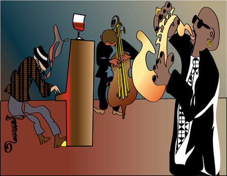jazz trio jamming in some club,more for them selfs than for audience Stock Vector - 8291679