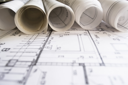 architectural plan,technical project,drawing technical letters,close up ,architect at work,Divider laying on the architectural plan,planning of interiors design on paper---more in my portfolio Stock Photo - 9323180