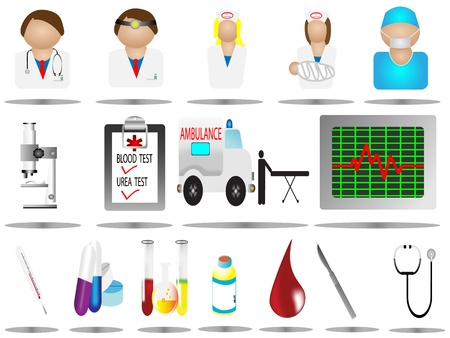 vector illustration hospital icons, hospital and medical icons set,Medical and Hospital Centre icons,easy to edit,microscope icon,nurse icon,doctor icon,