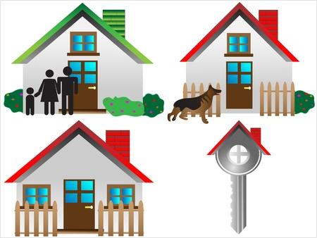 벡터 부동산 아이콘, 집 벡터 웹 아이콘. 건설 또는 부동산 개념입니다. 추상적 인 색 요소 집합의 쉬운 편집,