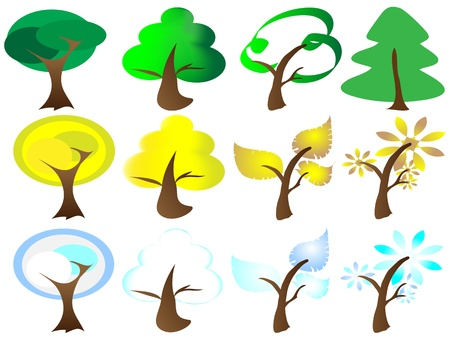 Four Seasons Tree Icons,vector illustration of different types of trees in different season,easy to edit Stock Vector - 9323177