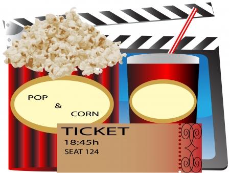 영화 티켓, 팝콘, 소 다 및 티켓 화이트 절연 이미지 ID : 73980040 일러스트