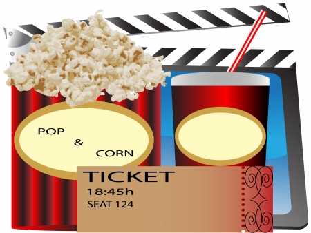 cinema popcorn and soda,movie ticket,Popcorn, soda & ticket isolated on white   Image ID: 73980040 Stock Vector - 9323178