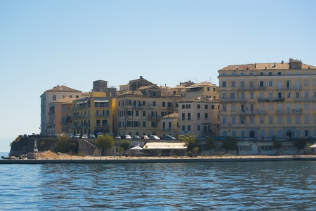 corfu: panorama of capital corfu town on corfu island, greece