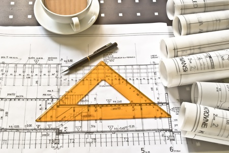 construction plans in rolls Stock Photo - 11087997