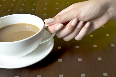 downtime: Hand holding a cup of coffee