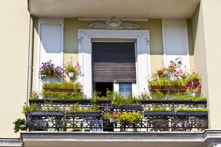 old balcony with flowers  photo