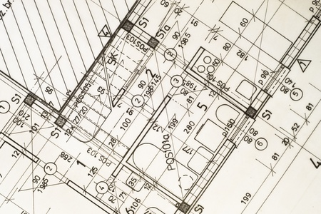 Architecture planning of interiors design on paper,