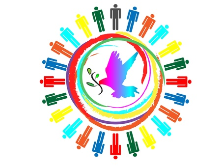 community work: dove with olive branch colorful planet business connection