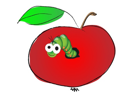apple worm: Caterpillar in apple