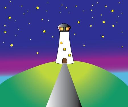 lighthouse at night: Faro de silueta en la noche, ilustraci�n vectorial