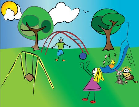 kids playing in the nature Vector