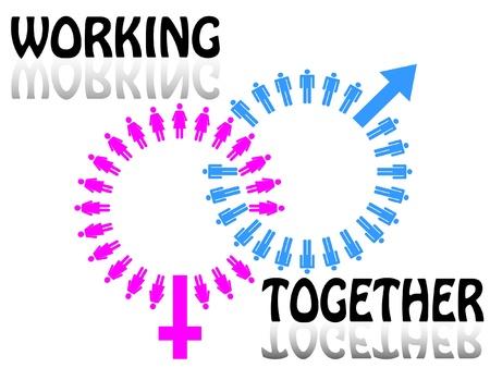 작업 팀 개념. 남자와 여자
