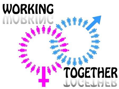 Work team concept. Men and Women