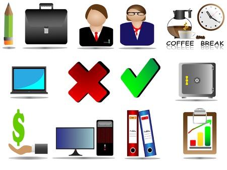 bank manager: Oficina Icon Set