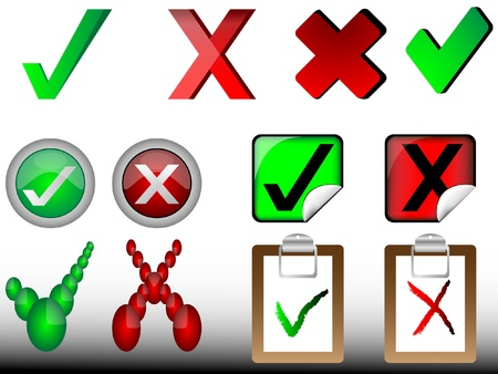 tick and cross signs,right and wrong signs Vector