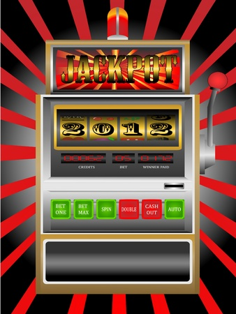 slot in: new year 2012 in slot machine  Illustration