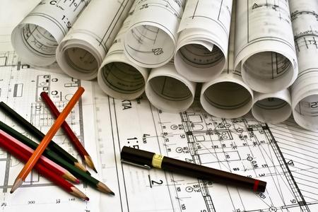 ingeniero: planos arquitect�nicos plan de Foto de archivo
