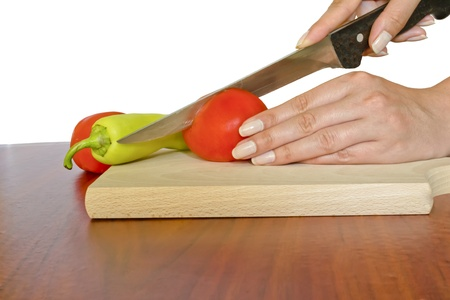 slicing: hends and cutting board
