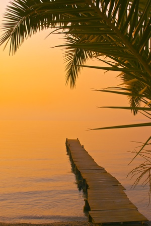 Beautiful beach sunset landscape photo