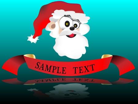 A Christmas ribbon with santa claus cartoon Stock Vector - 11664631