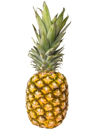 whole pineapple detail isolated on white background photo