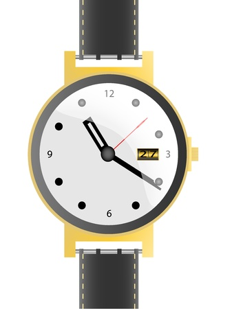 watch with leather belt Vector