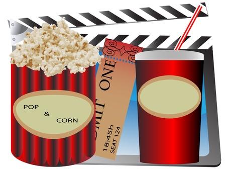 cinema popcorn and soda,movie ticket Vector