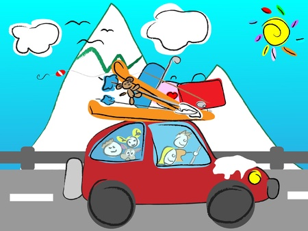 winter car: family road trip Illustration