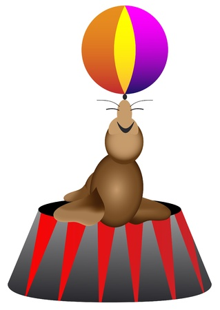 Circus seal with ball Vector