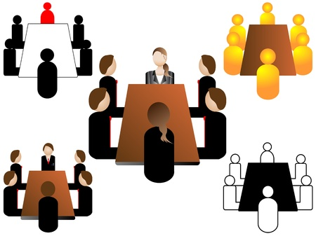 Business meeting vector icons Illustration