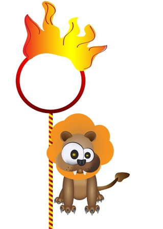 illustration of isolated lion with flaming ring on white Stock Vector - 12066370