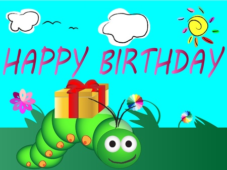 cute happy birthday card Stock Vector - 12184829