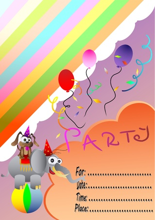 Circus Elephant Birthday Party Invitation Card Vector