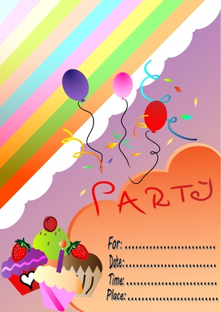 happy birthday party invitation Vector