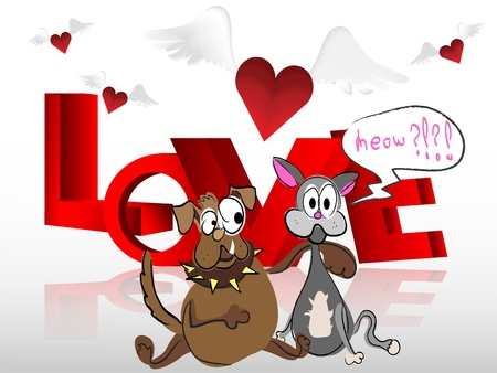 Heart with wings cat and dog Vector