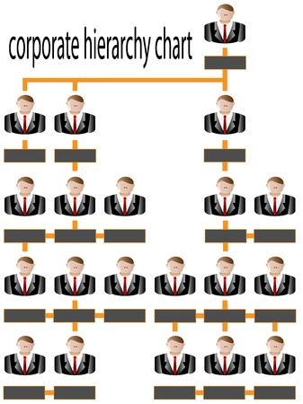 Corporate hierarchy chart business man vector Vector