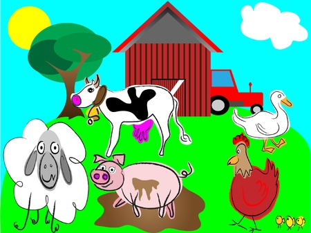 cartoon farm animals vector,domestic animals illustration Vector