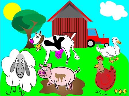 cartoon farm animals vector,domestic animals illustration Vector