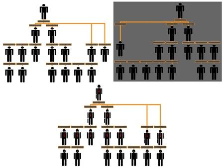 tree diagram: Organigramma gerarchia aziendale Vettoriali