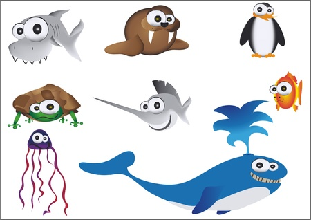 hand drawn sea animals Vector