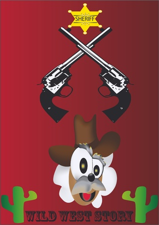 sheriff,cute poster,easy to edit,funny justice guns Vector
