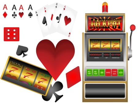 slot machine,poker cards,playing cards Vector
