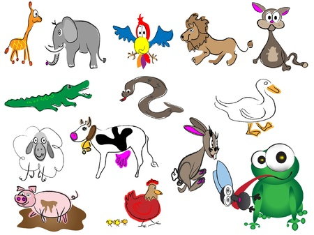 adorable cartoon hand drawn animals Illustration