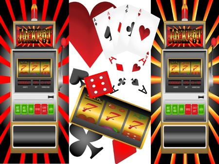 jackpot: slot machine,poker cards,playing cards