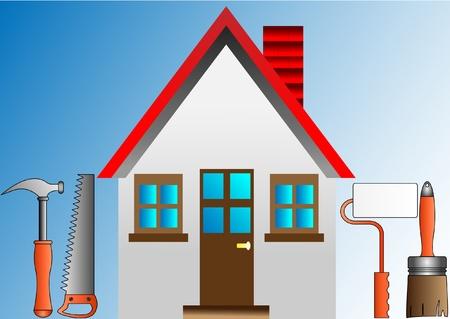 logotipo de construccion: decorar la casa con el rodillo de estuco y herramientas de construcción