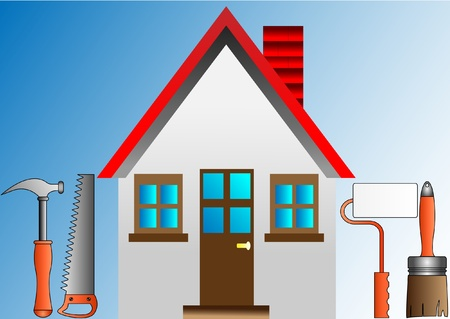 decorating house with stucco roller and building tools Vector