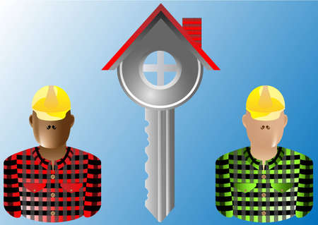 house key and builder real estate Stock Vector - 12887286